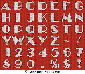alfabeto, navidad, tejido, vector, blanco, template., rojo