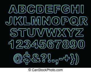 alfabeto, neón, negrita