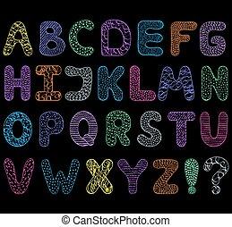 alfabeto, nero, fondo.