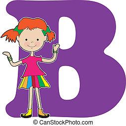 alfabeto, niña, b