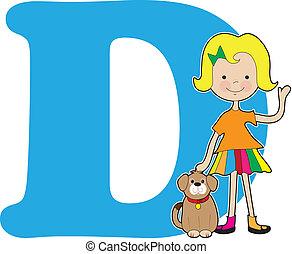 alfabeto, niña, d