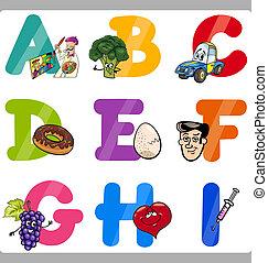 alfabeto, niños, cartas, educación, caricatura