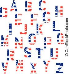 alfabeto, norteamericano,  Grunge, bandera