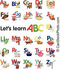 alfabeto, objetos