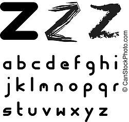 alfabeto, -, originale, colpo, vettore, facile, applicare, font, qualsiasi