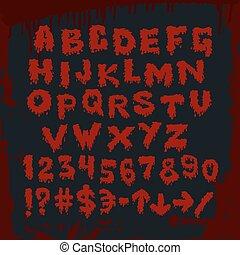 alfabeto, otro, signs., sangriento