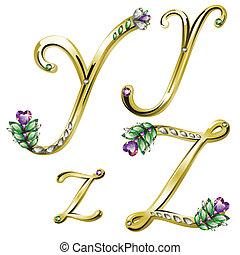 alfabeto, ouro, y, jóia, letras