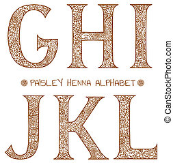 alfabeto, paisley, henna, g