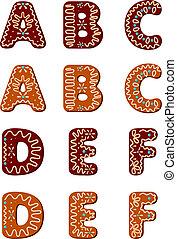 alfabeto, pan de jengibre, f