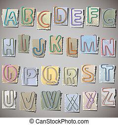 alfabeto, papel, antigas