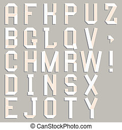 alfabeto, paper., recortar