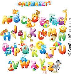 alfabeto, para, crianças, com, quadros