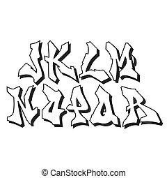 alfabeto, parte, graffito, 2, font, tipo