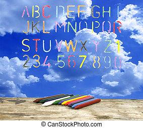 alfabeto, pastello, disegnato