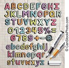 alfabeto, pennarello, colorito, scarabocchiare, font,...