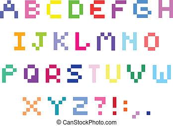 alfabeto, pixel