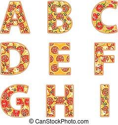 alfabeto, pizza