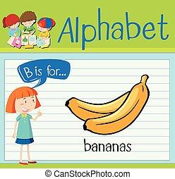 alfabeto, plátanos, flashcard, b