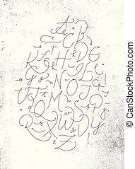 alfabeto, pluma, línea