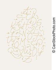 alfabeto, pluma, línea, oro