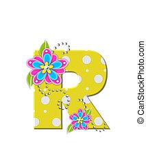 alfabeto, r, flores, bonny