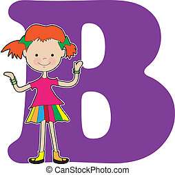 alfabeto, ragazza, b