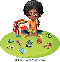alfabeto, ragazza, blocchi