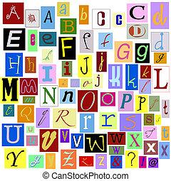 alfabeto, revista, letras
