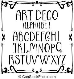 alfabeto, romano, deco, arte, scrivere mano