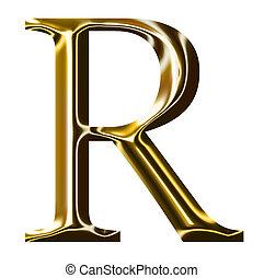 alfabeto, símbolo, r, ouro