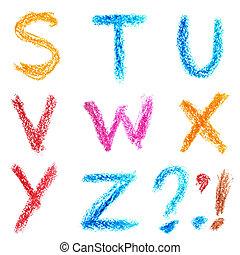 alfabeto, -, s, pastello, lettrs, z