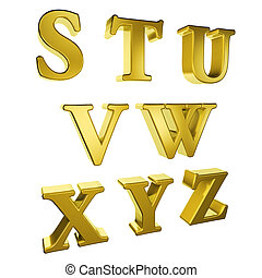 alfabeto, s, z, ouro