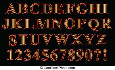 alfabeto, serif, neón