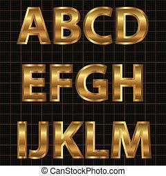 alfabeto, set, oro