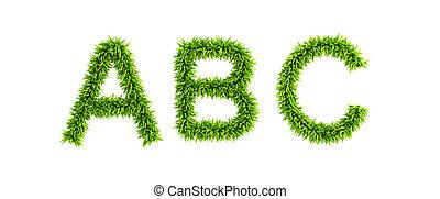 alfabeto, simbólico, herboso