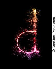 alfabeto, (small, d, letters), luz, fogo artifício, noturna, sparkler