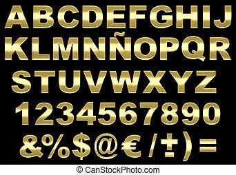 alfabeto, spazzolato, isolato, oro, 3d
