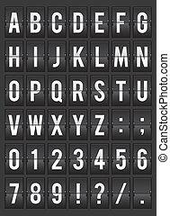 alfabeto, split-flap, exposição, ilustração