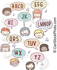 alfabeto, stickman, crianças, rima, ilustração