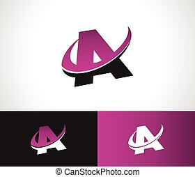 alfabeto, swoosh, icona