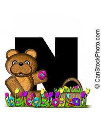 alfabeto, teddy, caccia uovo pasqua, n