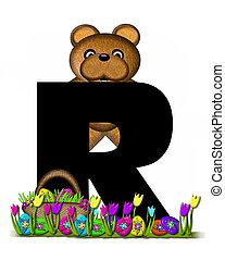 alfabeto, teddy, caccia uovo pasqua, r