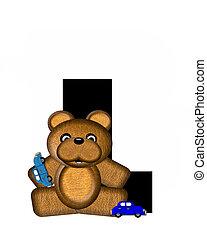 alfabeto, teddy, conducción, coches, l