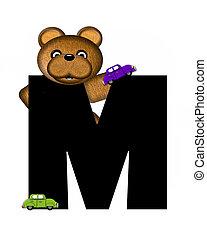 alfabeto, teddy, conducción, coches, m