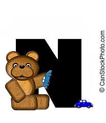 alfabeto, teddy, conducción, coches, n
