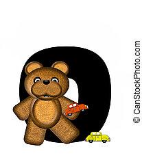 alfabeto, teddy, conducción, coches, o