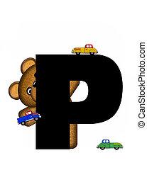 alfabeto, teddy, conducción, coches, p