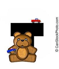 alfabeto, teddy, conducción, coches, t