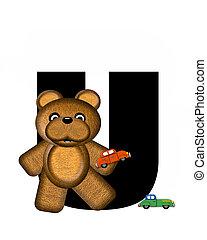 alfabeto, teddy, conducción, coches, u