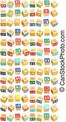 alfabeto, thru, bloques, z